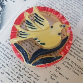 Painted carved Celluloid dove bird red white and blue vintage brooch