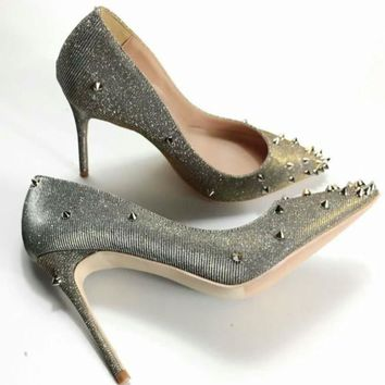 Keshangjia  Bling Sequins Silver Rivets Studded High Heels Women Pumps Fashion Pointed Toe Party Wedding Shoes Bridal Dress Pum