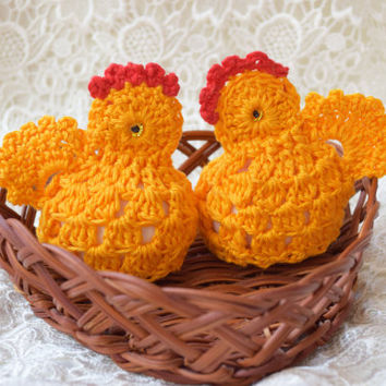 Easter crochet chicken Easter egg decoration Set of 2 egg cover chicks cozy yellow egg warmers kitchen decor spring decor Easter gift cosies