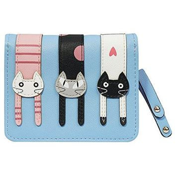 FXTXYMX Womens Cute Cat Wallets PU Leather Coin Purse Bifold Wallet Clutch Bag Card Holder for Teen Girls