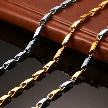 Vnox 55cm Long Gold-Color Chain Necklace for Men Stainless Steel Metal Diy Pendant