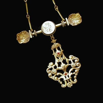 Victorian Floral Dangle Necklace In Gold Tone, With Red Rhinestones, On Bar Chain, Assemblage Of Vintage Jewelry