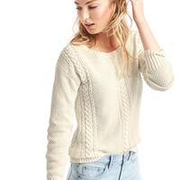 Boatneck cable knit sweater | Gap
