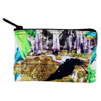 DCCKJY1 Great Blue Heron Abstract Paint Coin Purse