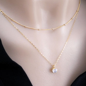 Double strand layered necklace - 14k gold filled satellite chain and CZ pendant, multi strand necklace, double necklace