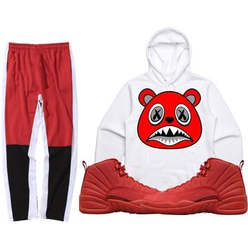 Jordan 12 Gym Red Sneaker Outfit - ANGRY BAWS - Hoodie + Track Pants