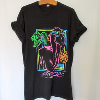 Vintage Neon Flamingo Summer Turtle Bay TShirt