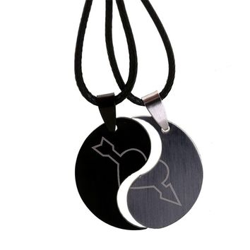 Broken Heart Couple Pendant Necklace Stainless Steel For Lovers' Love Arrow Fashion Jewelry Valentine's Day Gifts 2pc/Set N1532