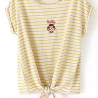 Yellow White Striped Knotted Girl Embroidered Short Sleeve T-Shirt