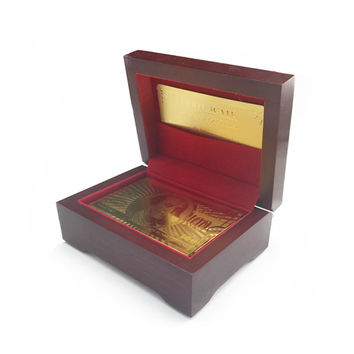 ONE SET US DOLLAR/POUND/EURO/DRAGON/NORMAL STYLE POKER WITH GOOD QUALITY WOODEN GIFT BOX AND CERTIFICATE GOLD FOIL PLAYING CARDS