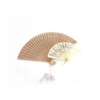 2 Hand Fans, Miniature Plastic / Lace, Punched Wood