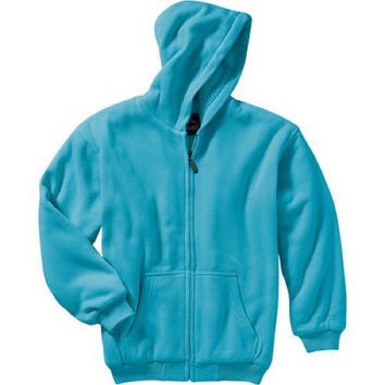 Climate Girls' Solid Sherpa Lined Fleece Jacket, Small (6-6X), Turquoise