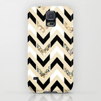 Black, White & Gold Glitter Herringbone Chevron on Nude Cream Galaxy S5 Case by Tangerine-Tane