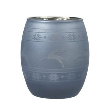 "3.5"" Winter Light Blue Frosted Glass Votive Light Candle Holder with Reindeer and Nordic Inspired Pattern"