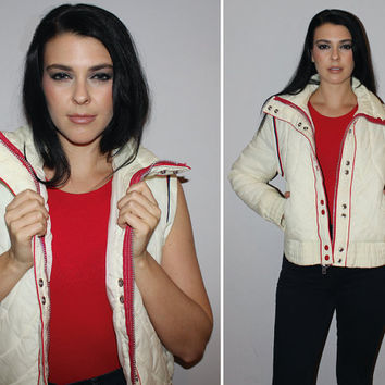 Vintage 70s Ski Jacket + Vest Set / DETACHABLE SLEEVES / Off White Quilted Bomber Jacket / Winter Coat / Americana / Small-Med