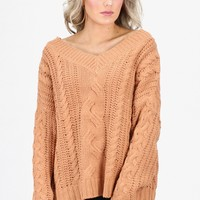 Slouchy, Chunky Knit V-Neck Sweater {Apricot}