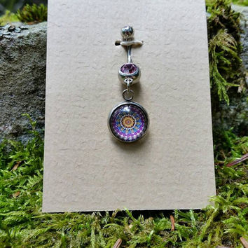 Light Purple Crystal Purple Sun Boho Belly Ring, Mandala, Hippie Belly Ring, Bohemian Belly Ring, Boho Navel Ring
