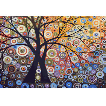 Handpainted 1Set DIY Digital Oil Painting By Numbers The Life Tree Frameless Canvas Abstract Home Wall Decor 40x50cm