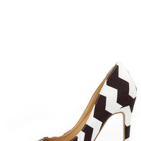 VIP Lines Black and White Striped Pointed Pumps
