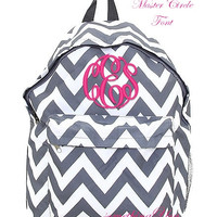 Pewter Gray Chevron Personalized Backpack - Grey Monogrammed Girls Kids Childrens Zig Zag Stripes School Bookbag Hot Pink Lime Aqua Blue