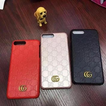 Perfect Gucci Fashion Personality Leather iPhone Phone Cover Case For iphone 6 6s 6plu