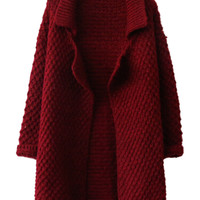 Burgundy Lapel Chunky Knit Cardigan
