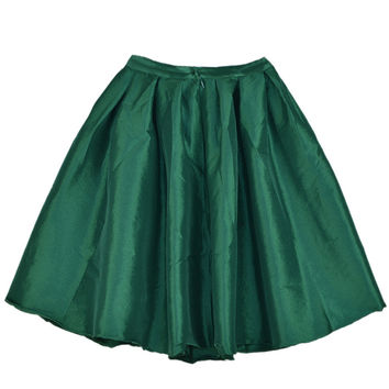 Green Pleated Skater Skirt