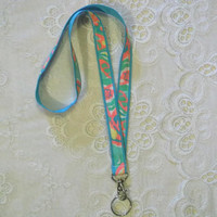 Preppy Aqua Splash Lilly Pulitzer Fabric Lanyard Set with Lanyard Key Chain Ponytail Holder
