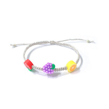 Swee fruit cord bracelets, Silver color glitter cord, for womens and girls, fashion accessory