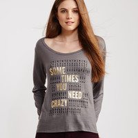 Long Sleeve Crazy Crochet Accent Knit Top