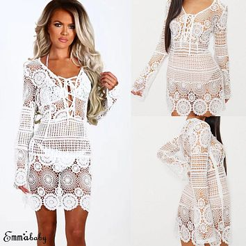 fcec1c822fc789 Bikini Cover Up Lace Floral Hollow Crochet Swimsuit Beach Dress
