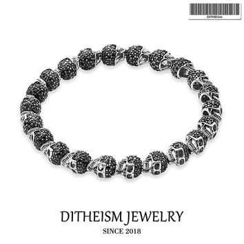 Strand Beaded Bracelets with Skull Beads, 2018 New Blackened Silver Fashion Jewelry Punk Gift for Men Boy Women Girls