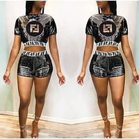 Fendi Fashion New Summer Sequin Letter Sports Leisure Top And Shorts Two Piece Suit Black