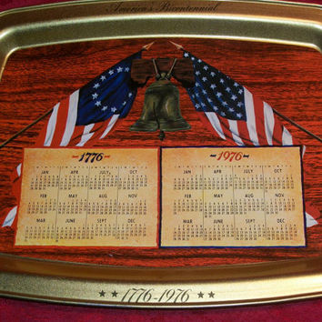 Patriotic American Flag Metal Tray Serving or Home Decor USA  Bicentennial 1776 1976 Commemorative Historic Event Souvenir