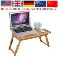 Adjustable Computer Desk Portable Bamboo Laptop Folding Table Foldable Laptop Stand Desk