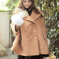 Elegant Double Breasted Camel Batwing Cape Fashion  : Wholesaleclothing4u.com