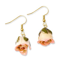 Lacquered Cream/Pink Real Rose Dangle Earrings