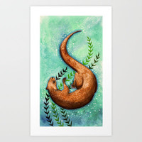 Otter Art Print by Bumble-a-bee