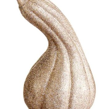 "7"" Autumn Harvest Gold Glitter Embellished Gourd Thanksgiving Fall Decoration"
