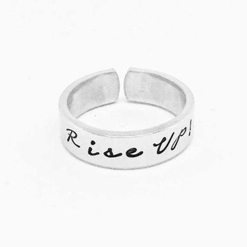 Rise Up!  Hamilton Inspired Cuff Ring - Musical Broadway - Gift Under 20