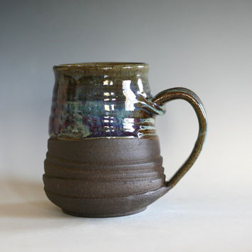 Coffee Mug Pottery, 19 oz, unique coffee mug, ceramic cup, handthrown mug, stoneware mug, wheel thrown pottery mug, ceramics and pottery