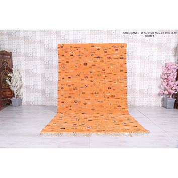 Vintage handwoven moroccan rug, 6.3 ft x 10 ft, Peach rug
