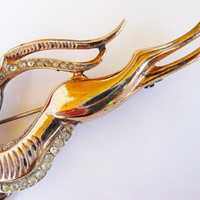 vintage Reja sterling impala gazelle brooch pin | rare leaping impala | gold washed sterling silver | 1943 designer signed | WWll jewelry