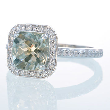 14K White Gold Cushion Cut Green Amethyst Diamond by SAMnSUE