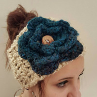 Flower Ear warmer. Crochet head warmer. Cream and turquoise  head band. Made by Bead Gs on Etsy.