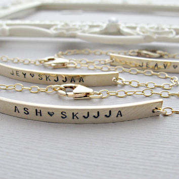 GOLD Nameplate Bracelet, GOLD Bar Bracelet, Engraved Bracelet, Personalized, Bracelet, Long Bar Bracelet