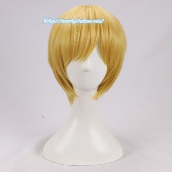 Anime One Piece Cosplay Wig Sanji Blonde Short Straight Men Yellow Synthetic Hair for Adult