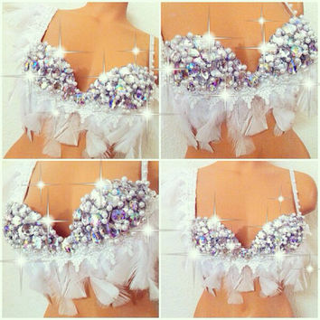 White Indian Princess Rave Bra