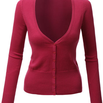 LE3NO Womens Lightweight Long Sleeve V Neck Knit Cardigan with Stretch (CLEARANCE)