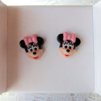 Minnie Mouse 80s Disney Avon Stud Earrings! With Original Box!